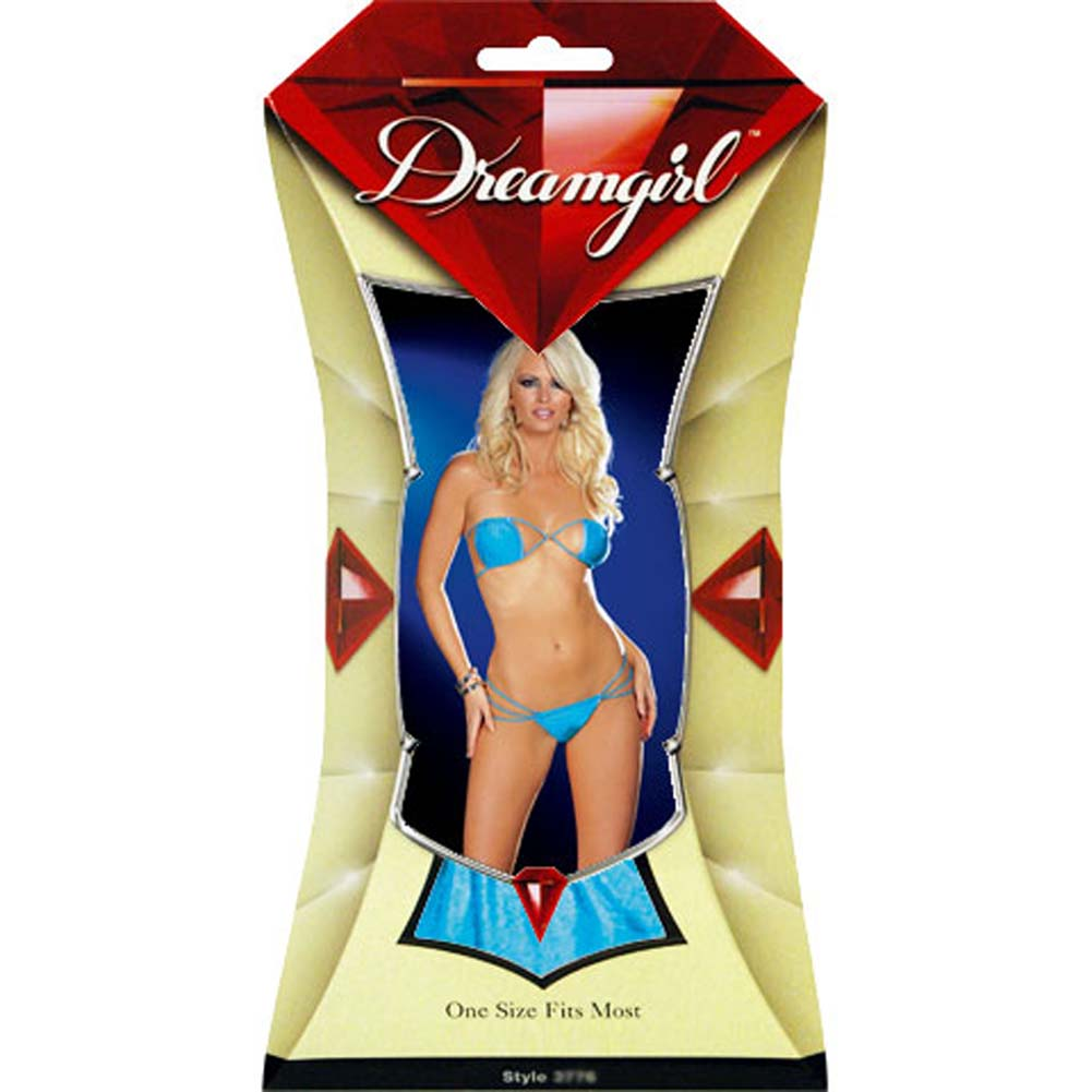 Strapless Bra Top and G-String with Elastic Straps Blue - View #1