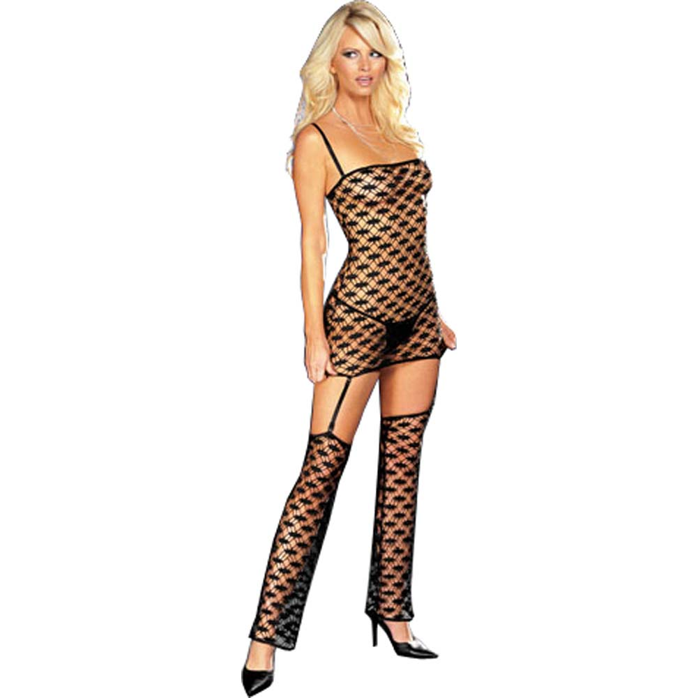 Net Garter Dress with Leggings and Thong Black Small - View #1