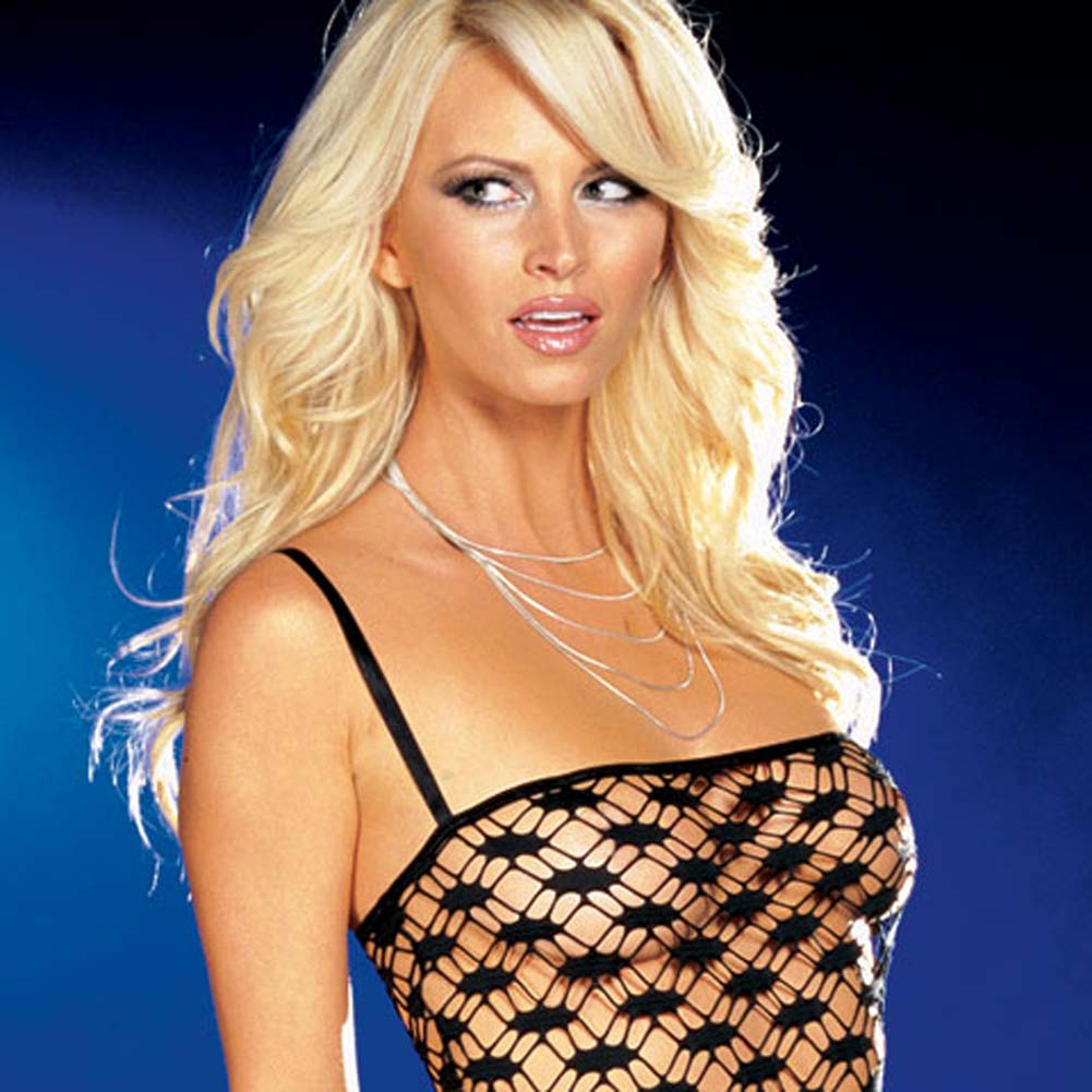Net Garter Dress with Leggings and Thong Black Medium - View #2