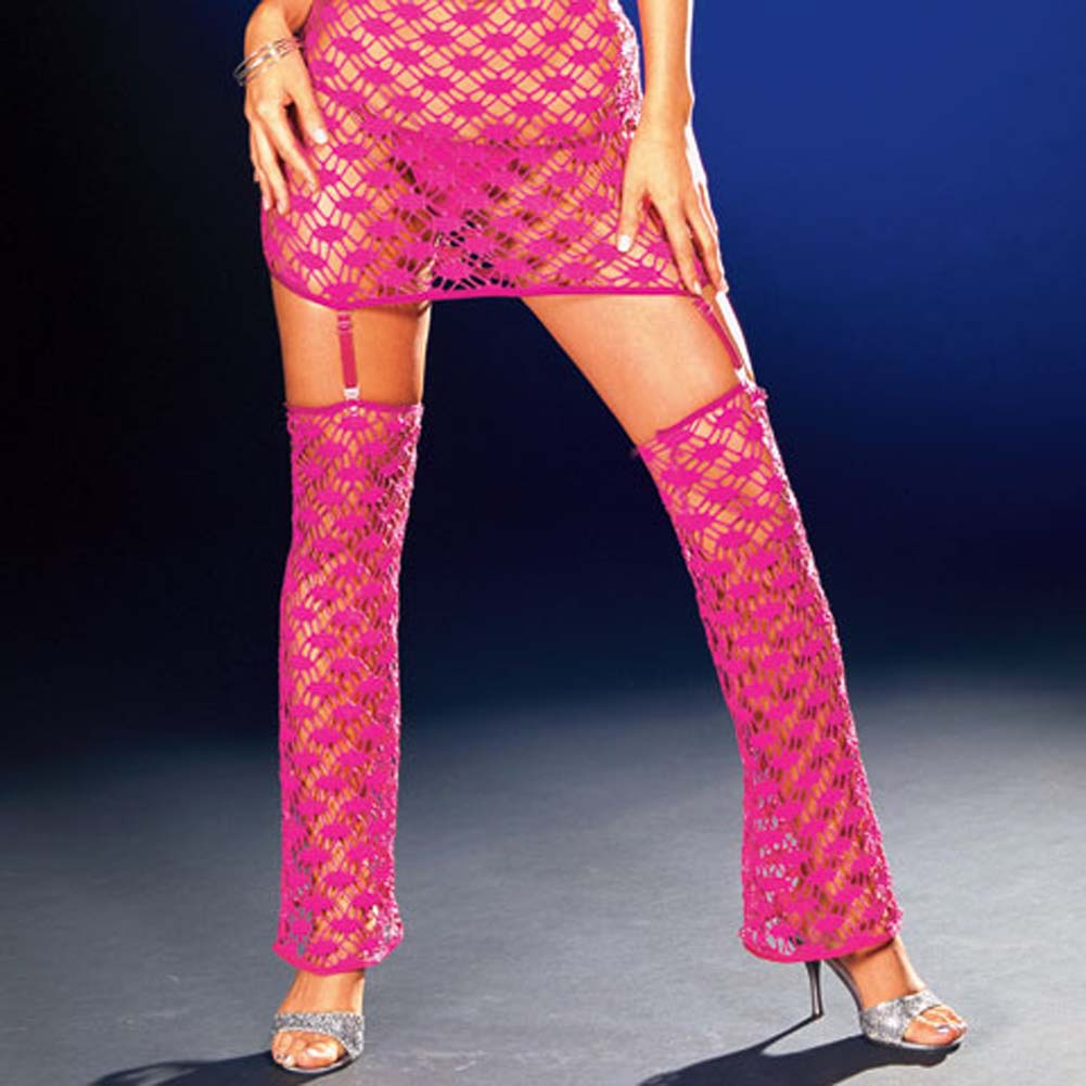 Net Garter Dress with Leggings and Thong Hot/Pink Small - View #4