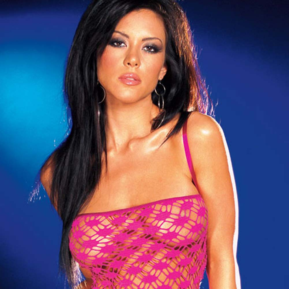 Net Garter Dress with Leggings and Thong Hot/Pink Large - View #2