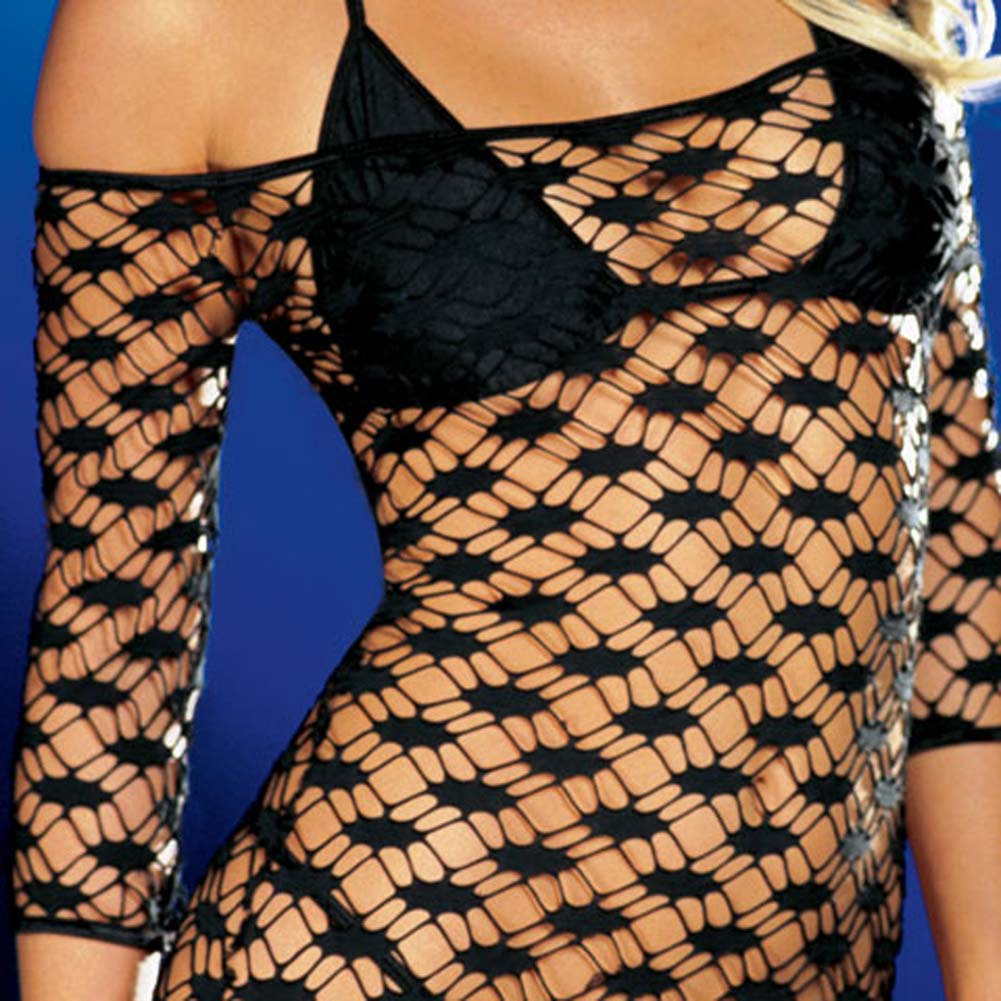 Net Sleeve Dress and Bikini Set Black Medium - View #4