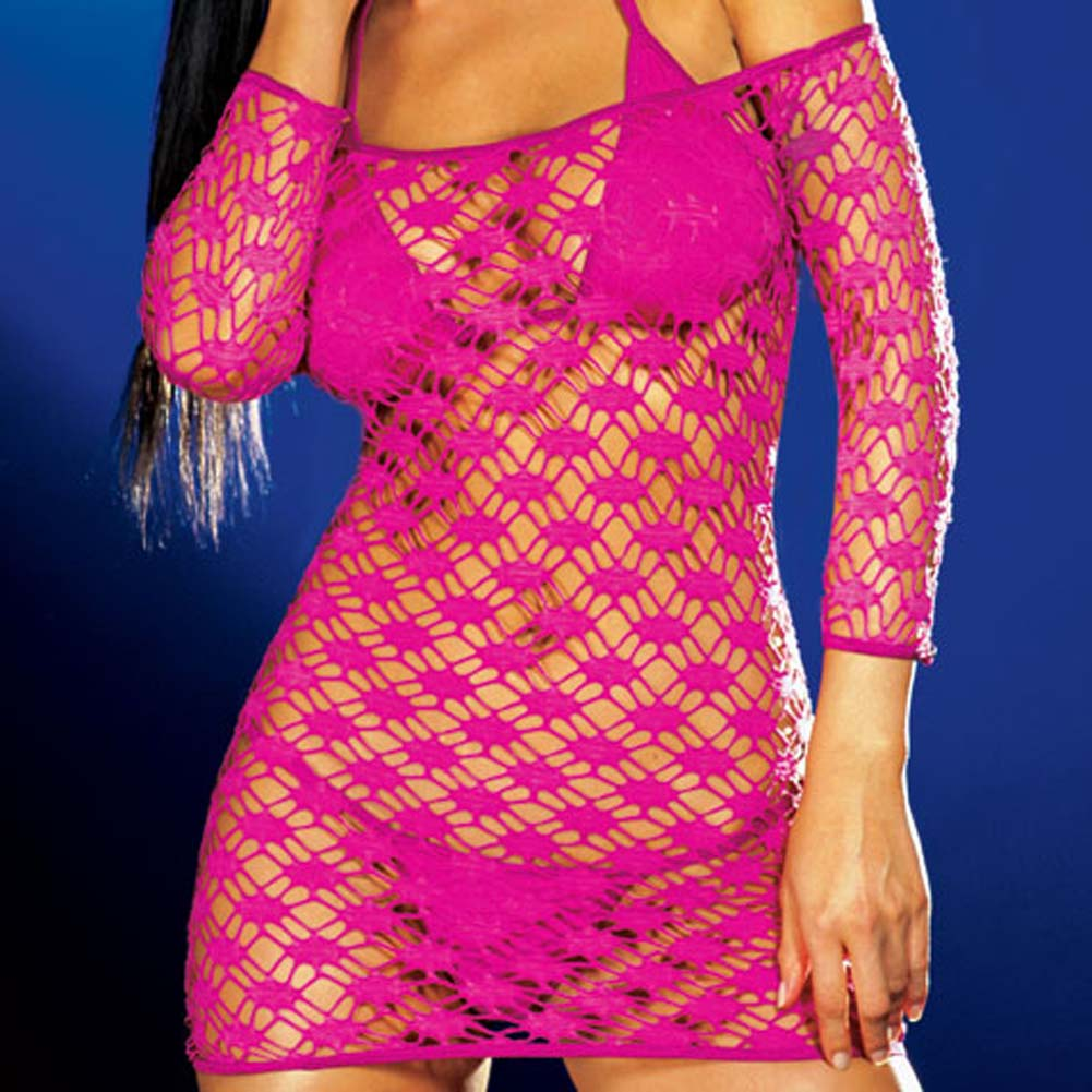 Net Sleeve Dress and Bikini Set Hot/Pink Small - View #3
