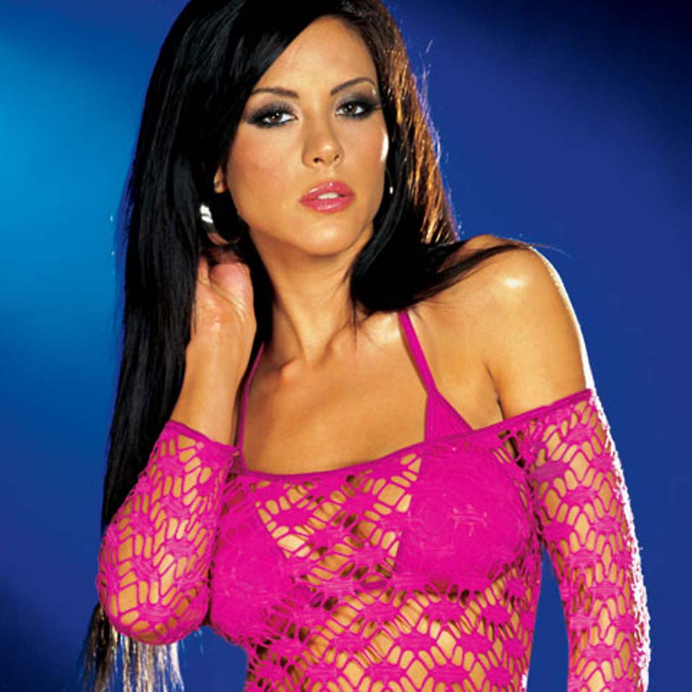 Net Sleeve Dress and Bikini Set Hot/Pink Medium - View #2
