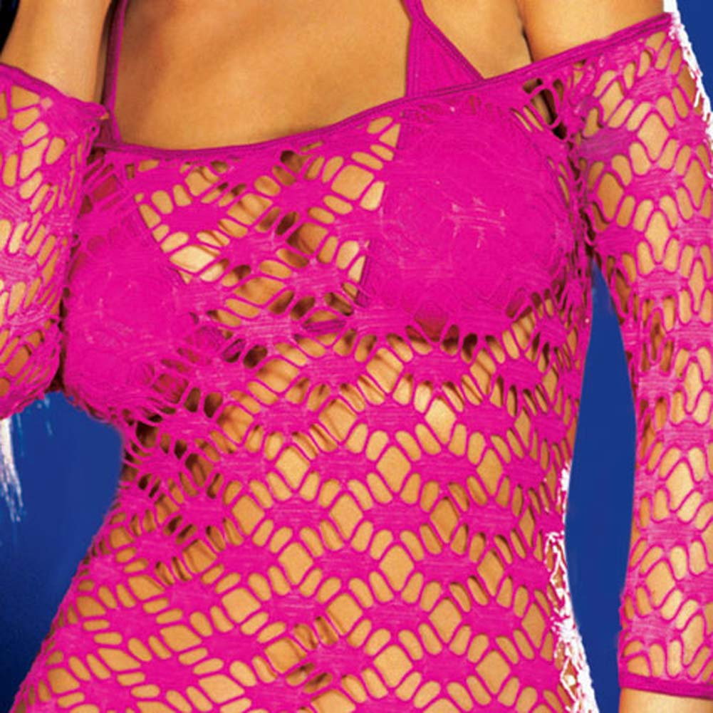 Net Sleeve Dress and Bikini Set Hot/Pink Medium - View #4