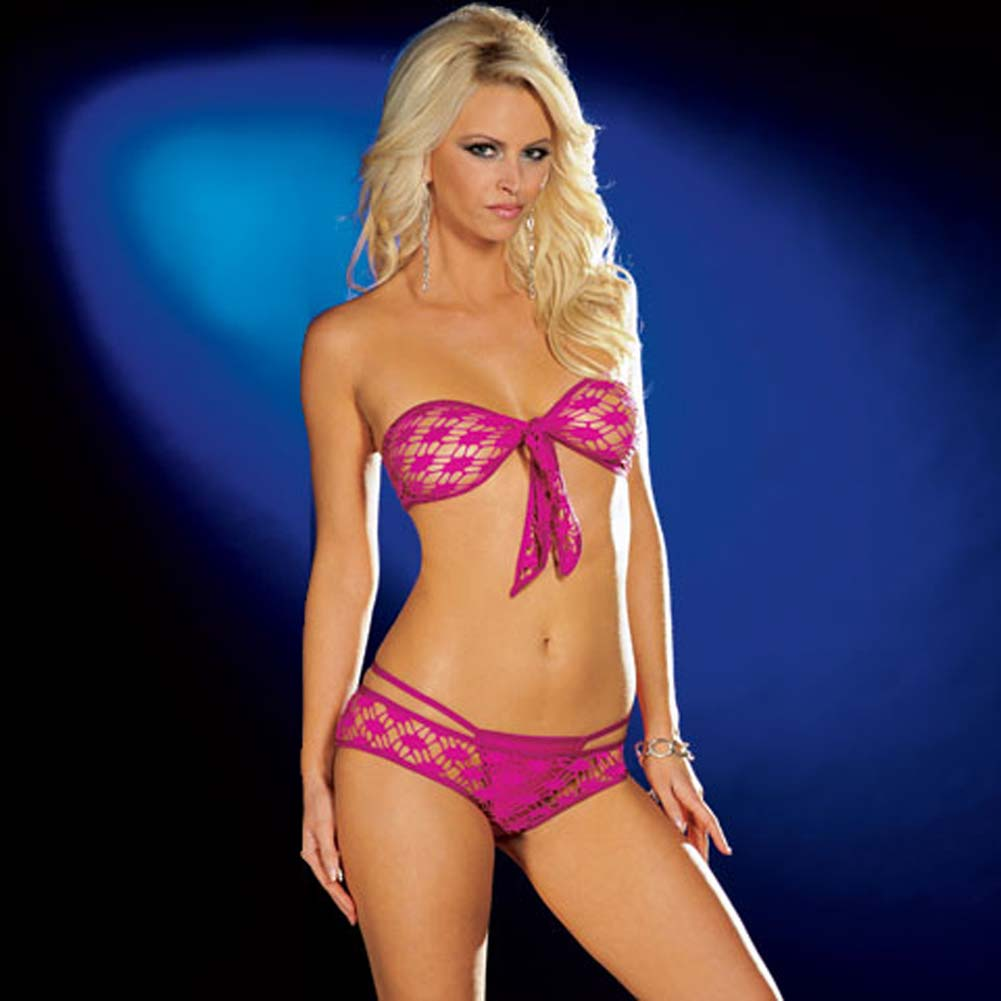 Fishnet Tie Front Top with Shorts and Thong Hot/Pink Small - View #1