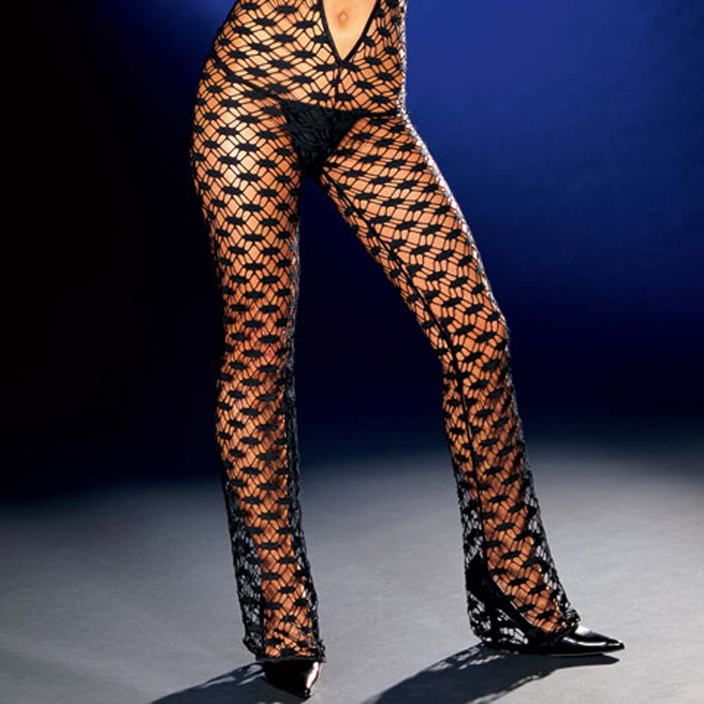 Fishnet Halter Bodysuit with Thong Black Small - View #4