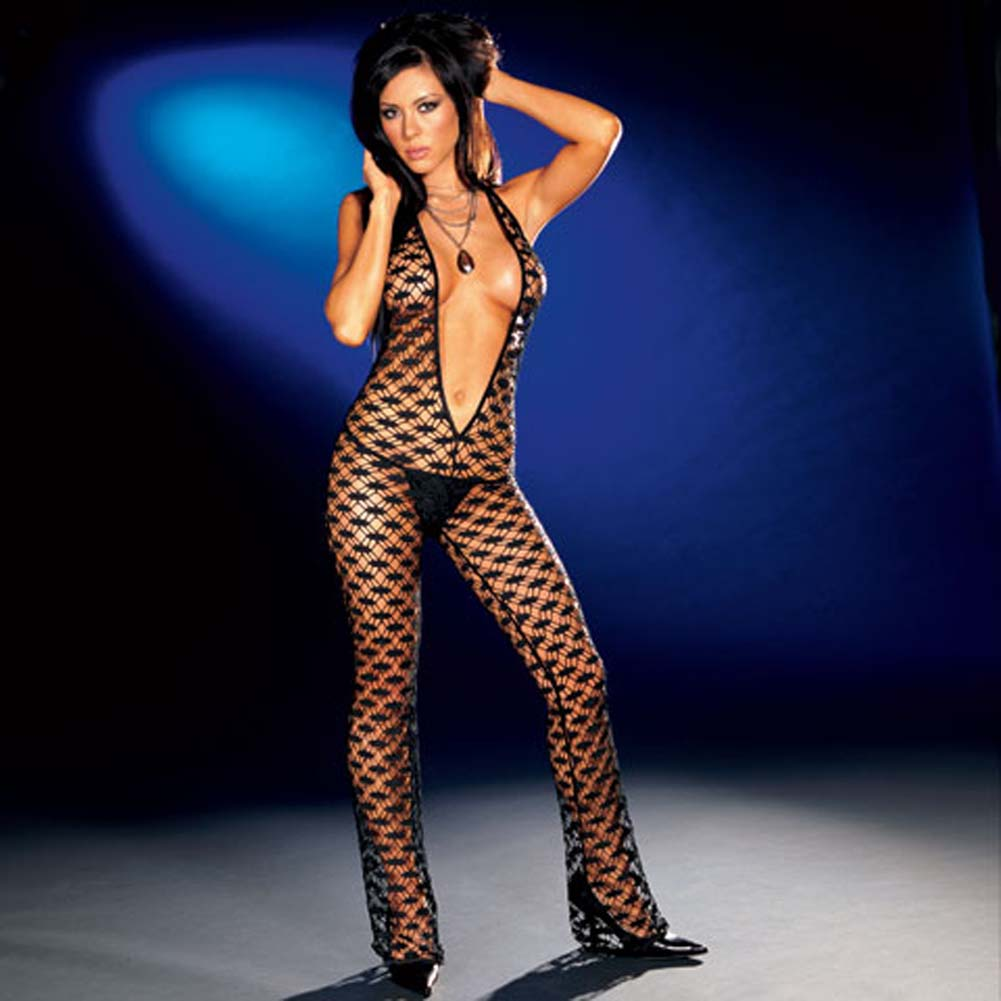Fishnet Halter Bodysuit with Thong Black Large - View #1
