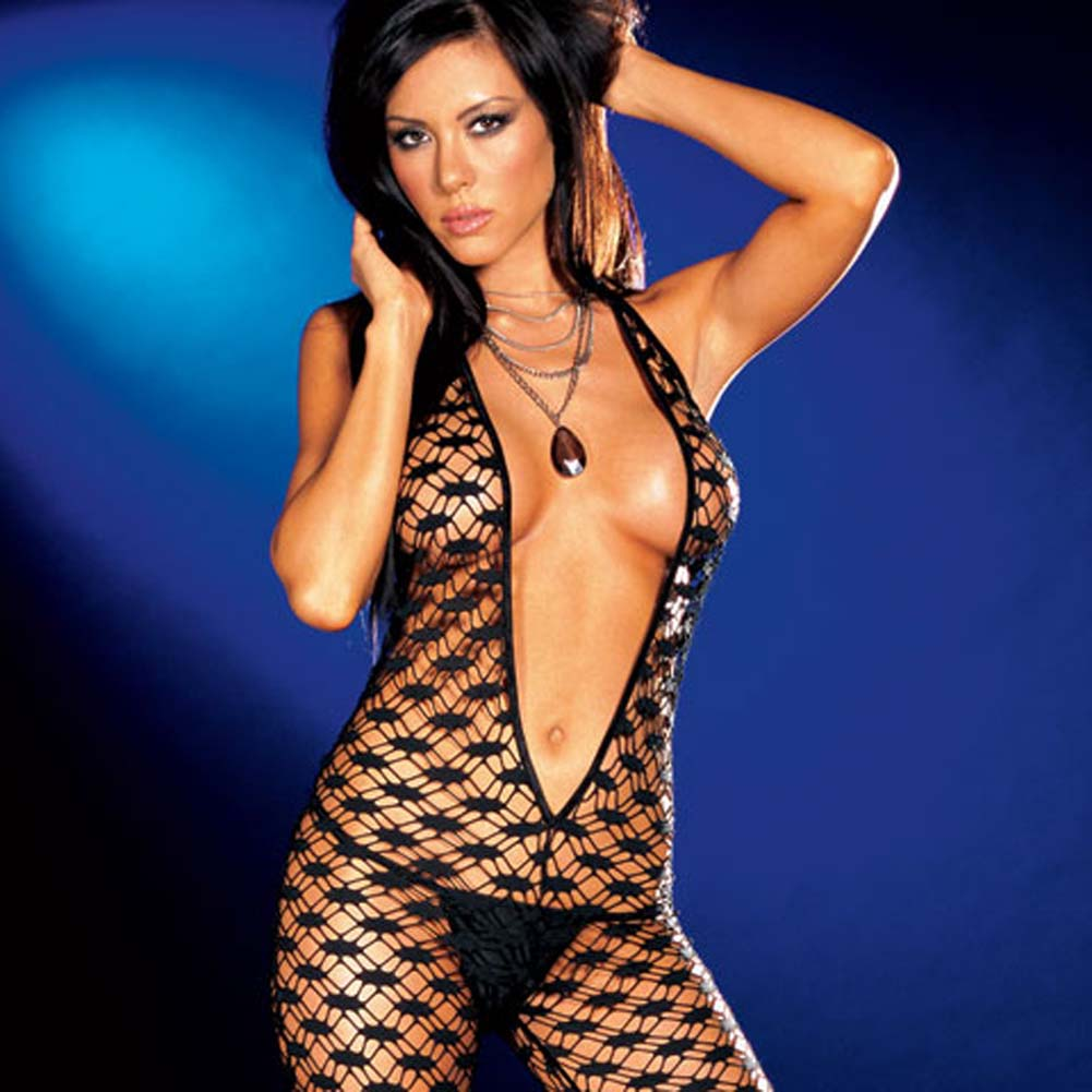 Fishnet Halter Bodysuit with Thong Black Large - View #3