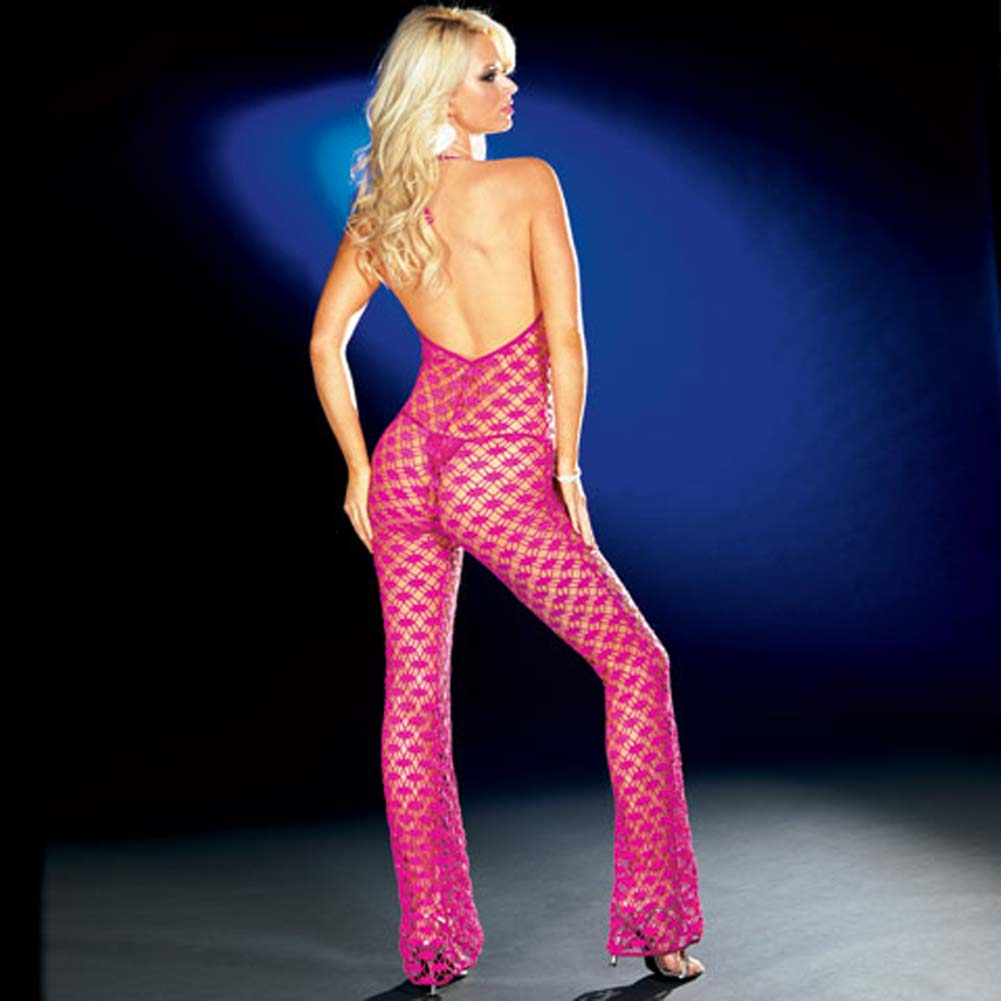 Fishnet Halter Bodysuit with Thong Hot/Pink Large - View #2
