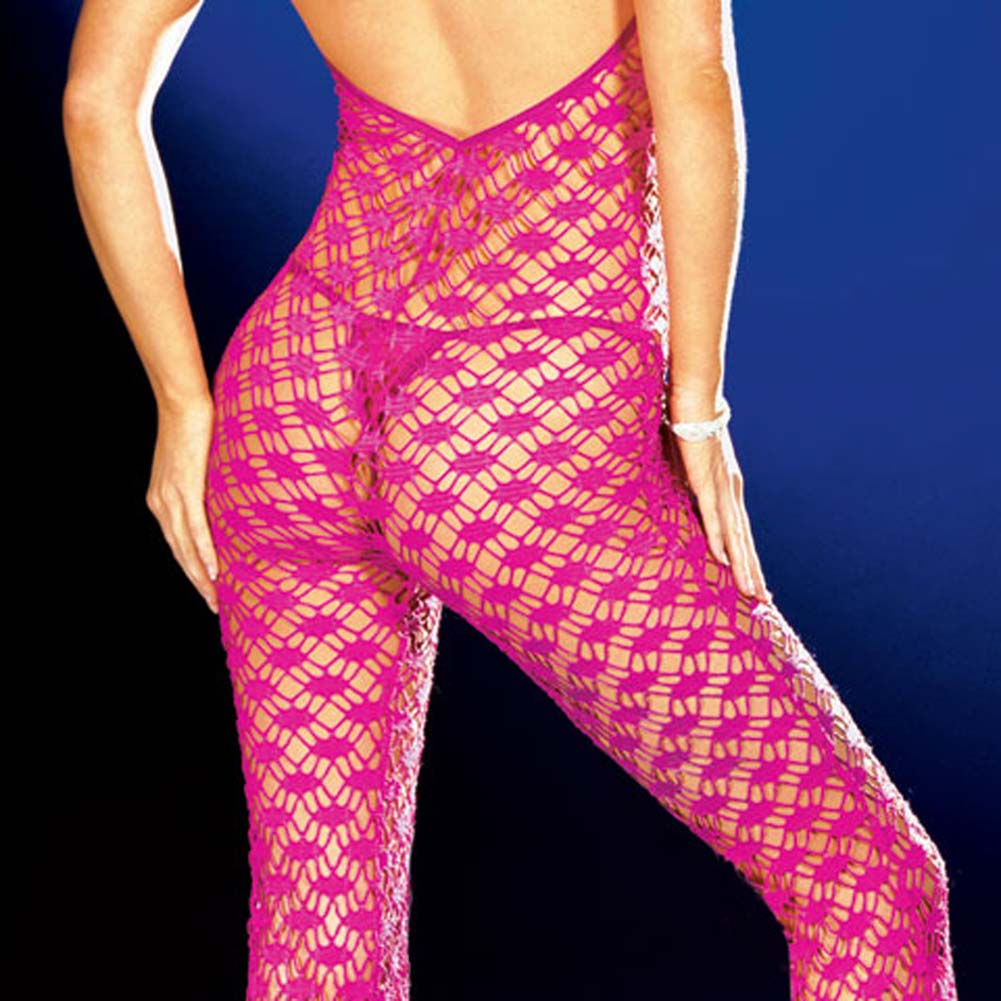 Fishnet Halter Bodysuit with Thong Hot/Pink Large - View #4