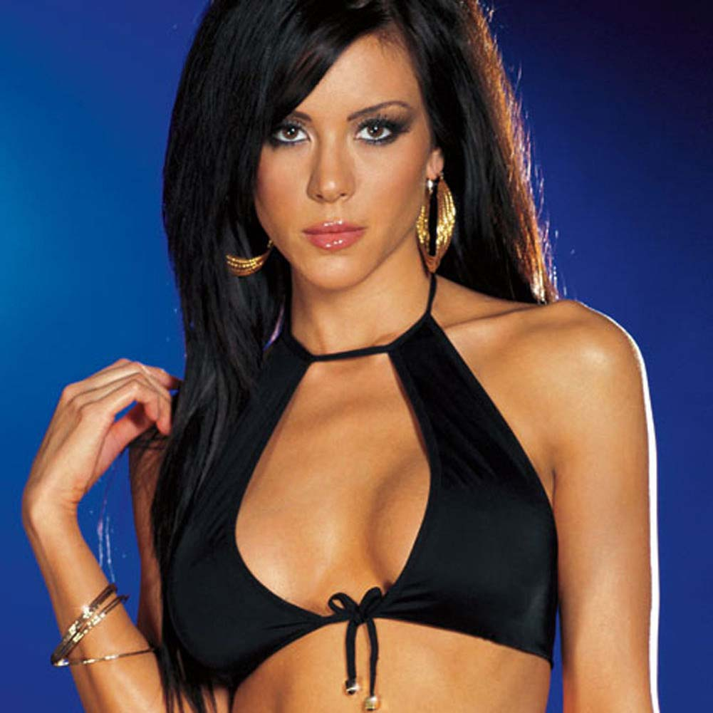 Halter Top with Strappy Slit Skirt and Thong Black Medium - View #2
