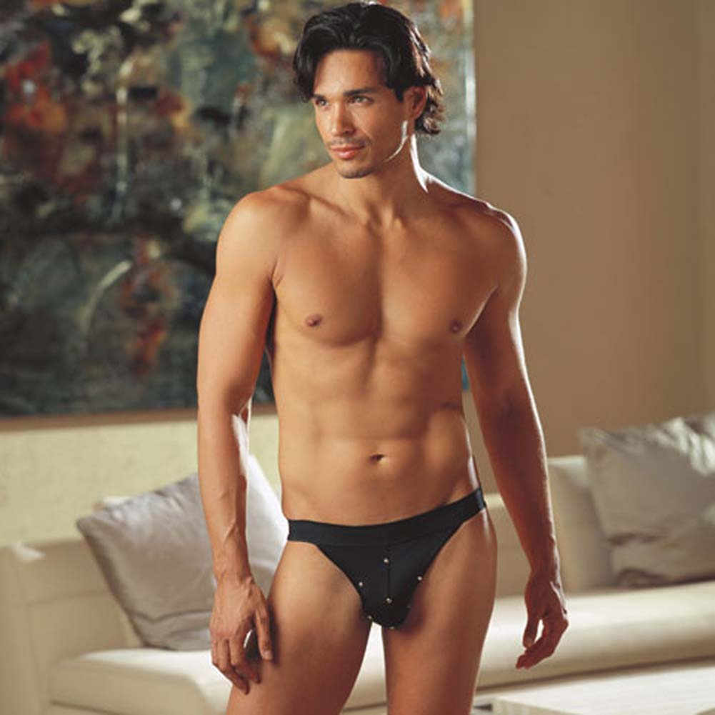 Studly Studded Jock Strap Black Medium/Large - View #1