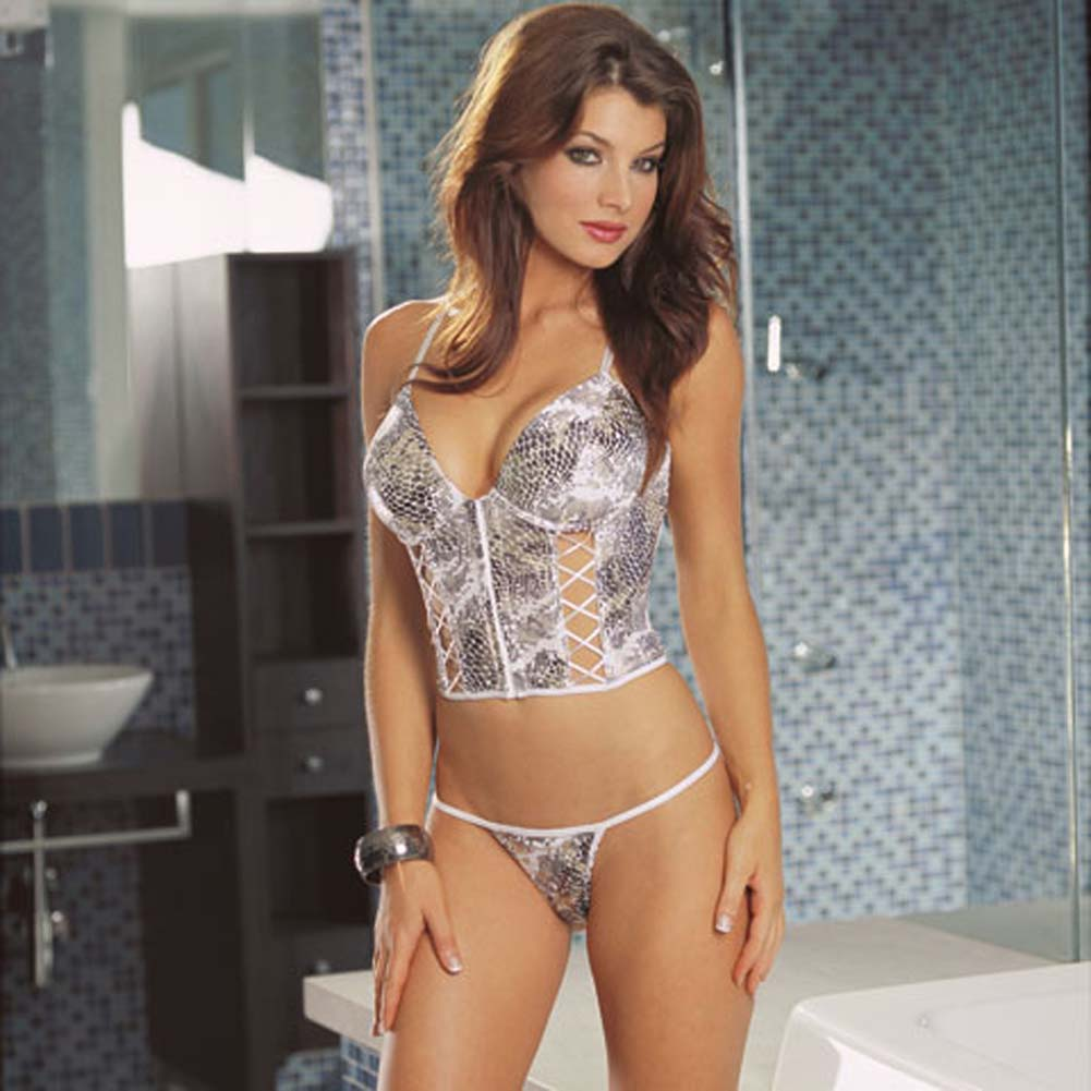 Cobra Print Bustier and Matching Thong Small - View #1