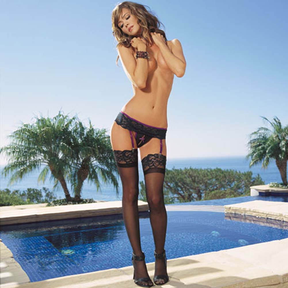 Lace Garter Belt with Crotchless Panty and Hosiery Set Black - View #1