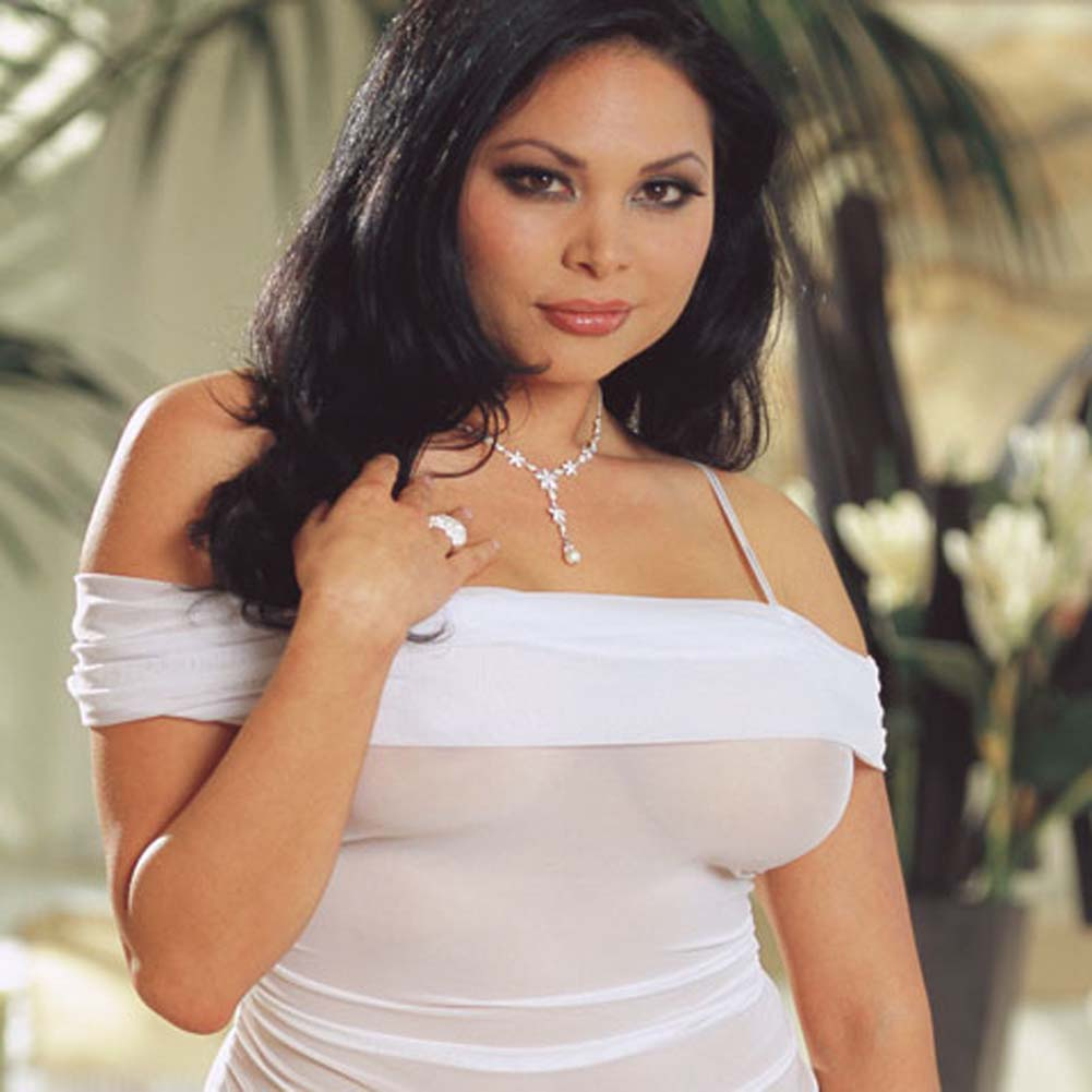 Wedded Bliss Mesh Teddy Plus Size White - View #4