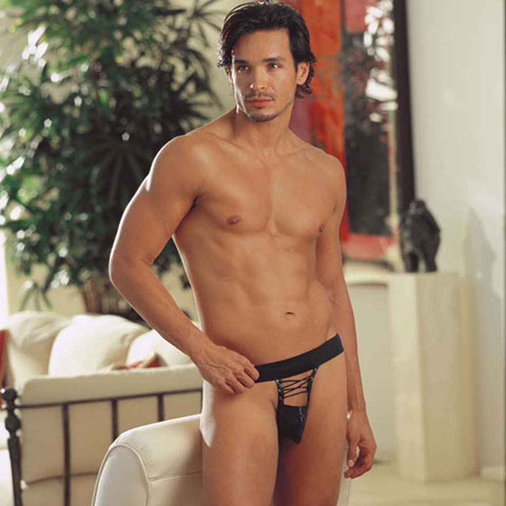 Sexy Faux Leather Lace Up Front Jock Black Medium/Large - View #1