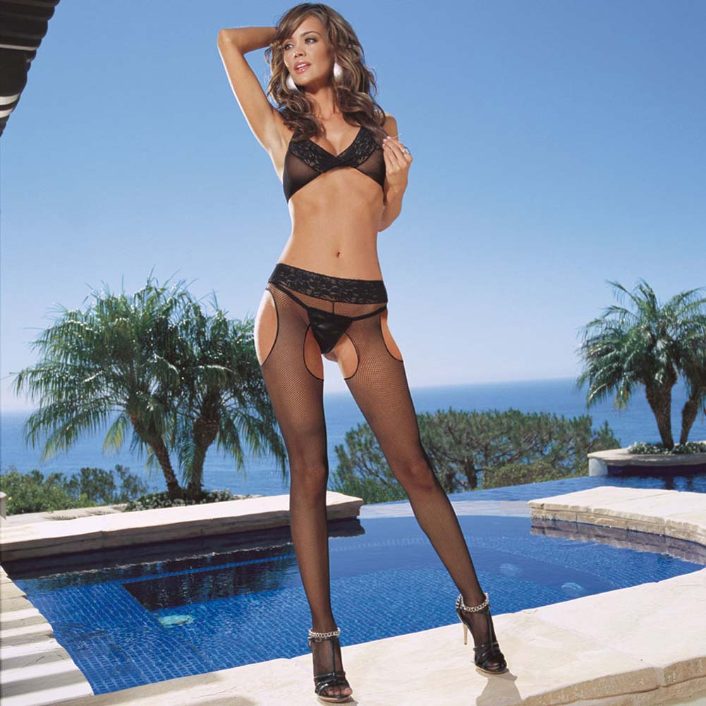 Vienna Fishnet Bra and Suspender Pantyhose Set Black - View #1