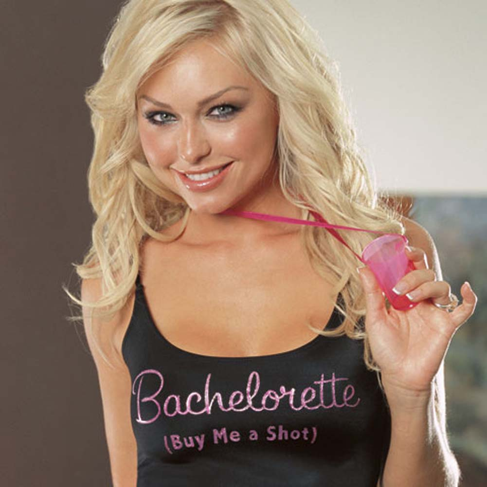 Bachelorette Buy Me a Shot Camisole and Thong One Size Black - View #3