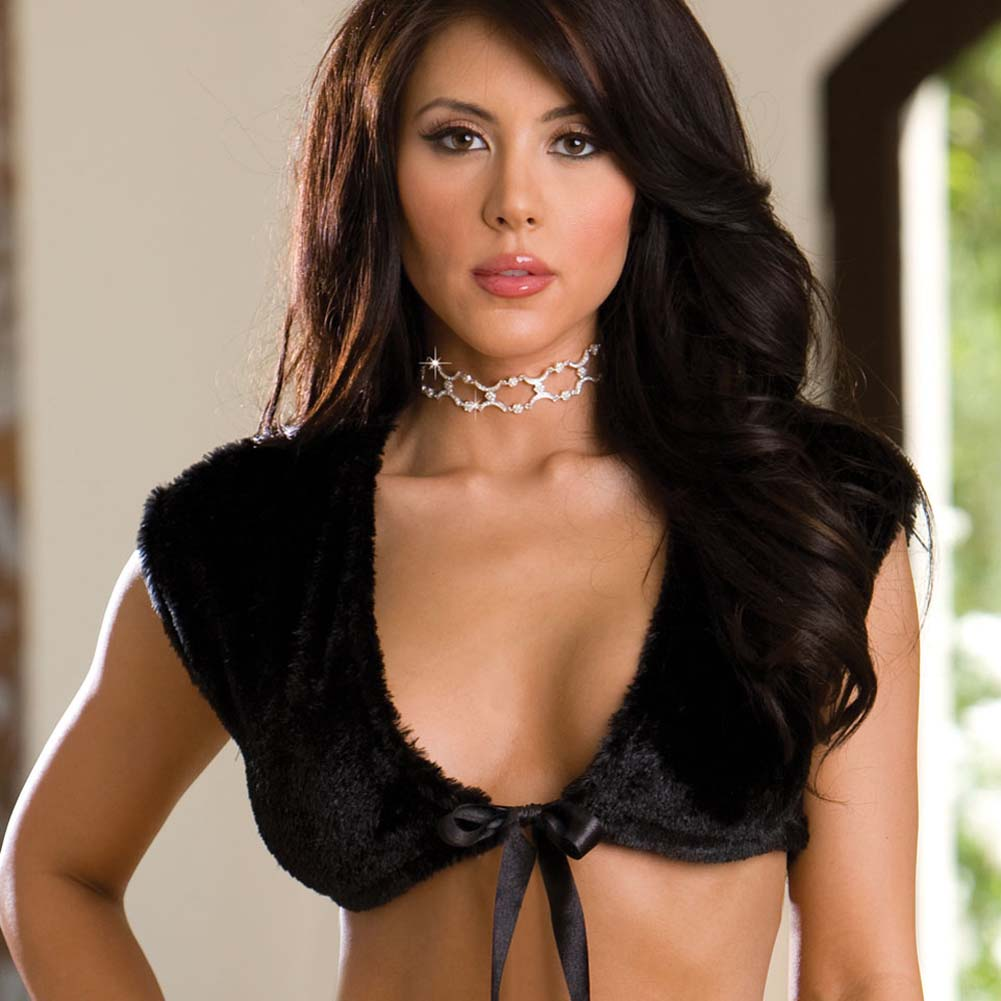 Glamorous Night Fur Shrug and Thong Set Black Small - View #2