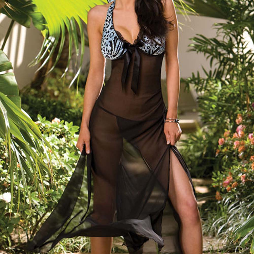 Two Tone Long Gown and Thong Black Medium - View #3
