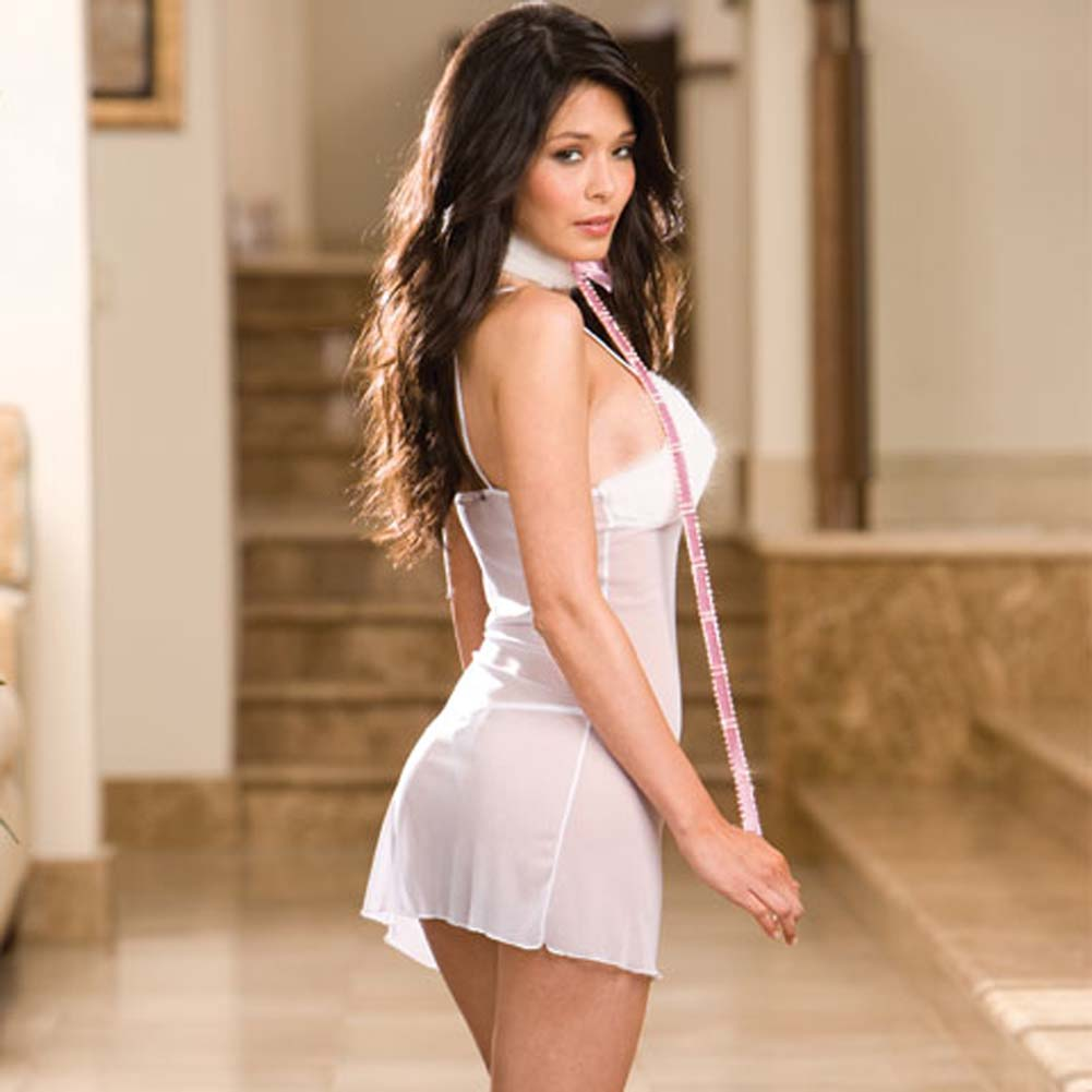 Faux Fur and Sheer Mesh Babydoll with Collar and Thong White - View #2