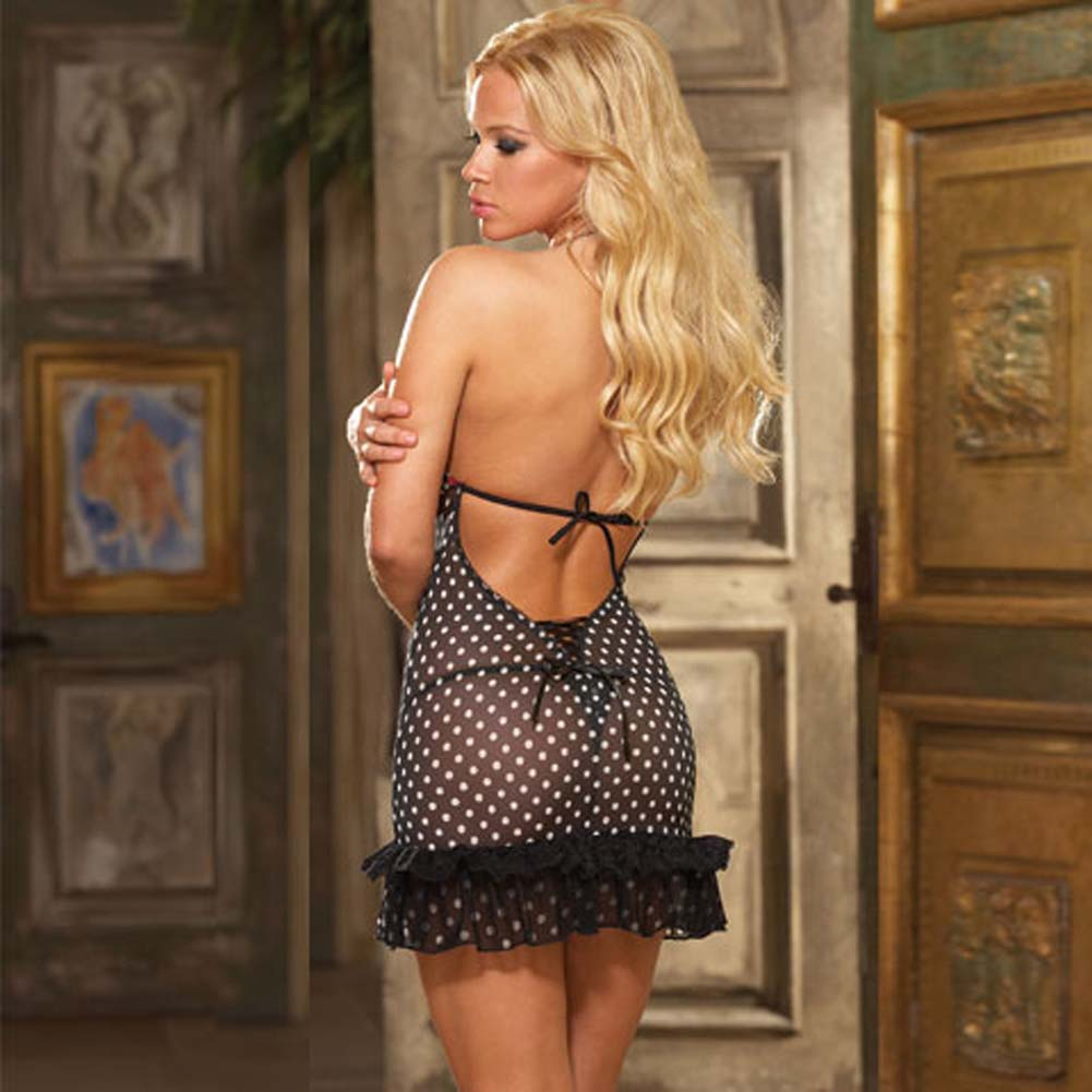 Dotted and Laced Halter Chemise with Thong Black Medium - View #2
