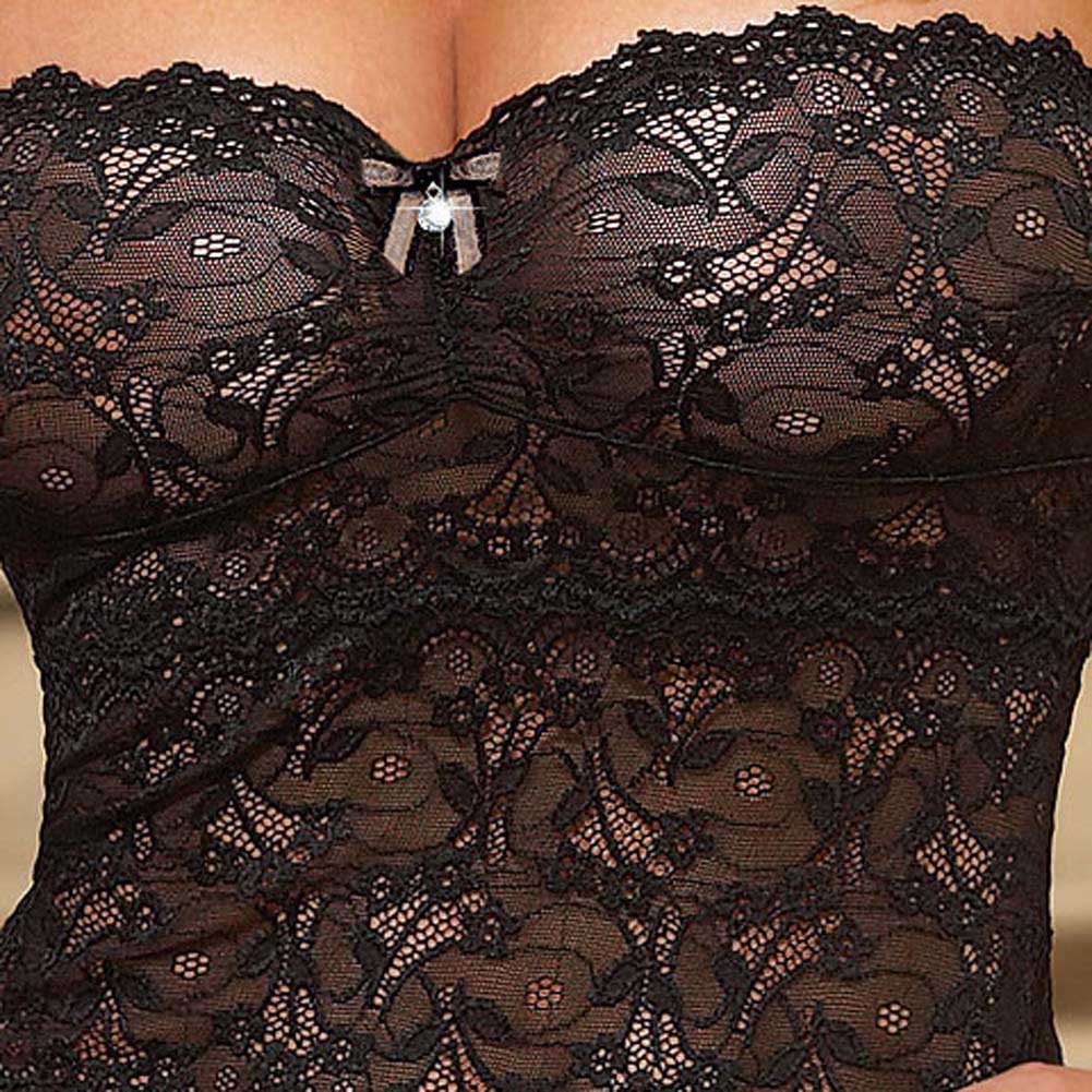 Seductive Strapless Chemise with Fringe and Panty Black Sm - View #4