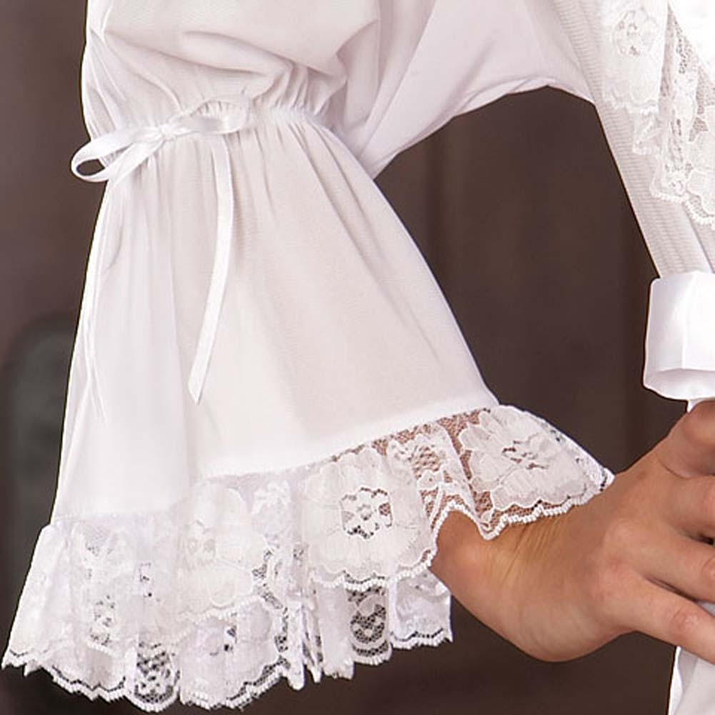 Stylish Lounging Robe and Thong White Small - View #4