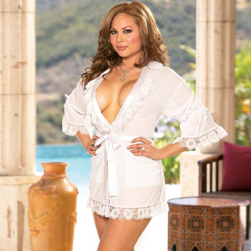 Stylish Lounging Robe and Thong White Plus Size 3X/4X - View #1