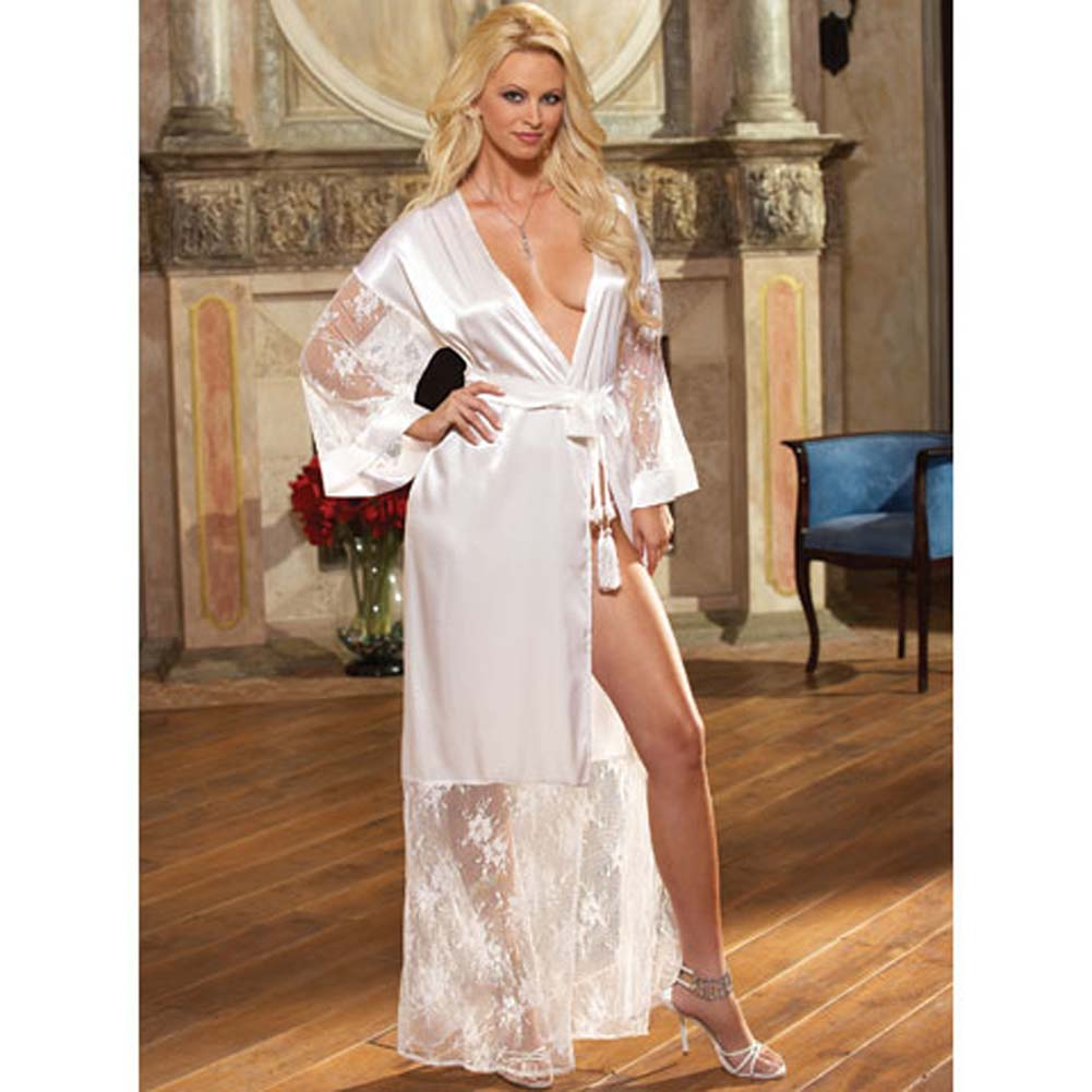 Luxurious Long Robe with Panty and Hanger White Small - View #1