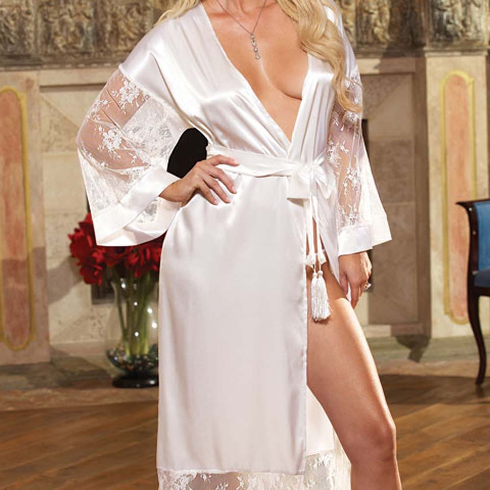Luxurious Long Robe with Panty and Hanger White Small - View #3