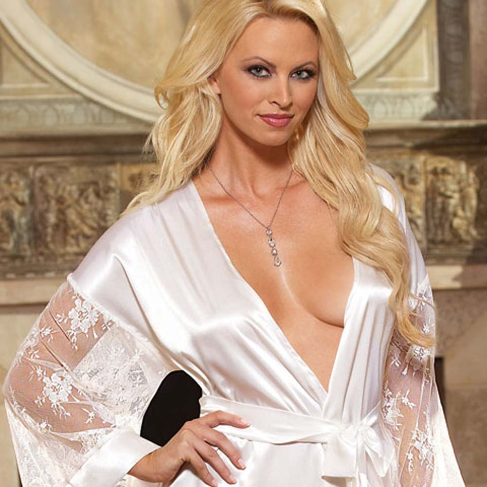 Luxurious Long Robe with Panty and Hanger White Medium - View #2