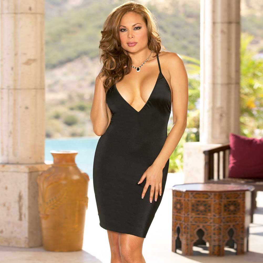 Lovely Low Neckline Chemise and Thong Set Plus Size Black - View #1