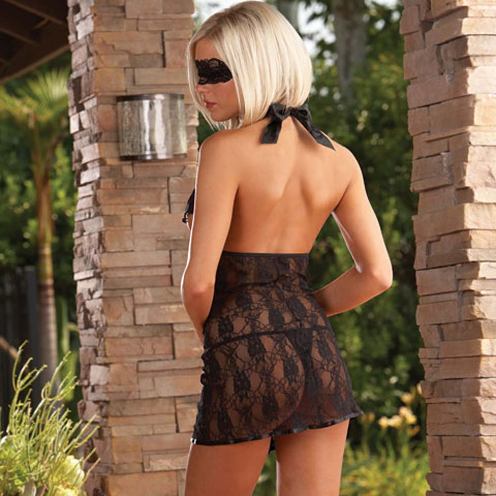 Lavish Lace Open Cup Halter Babydoll with Thong Black - View #2