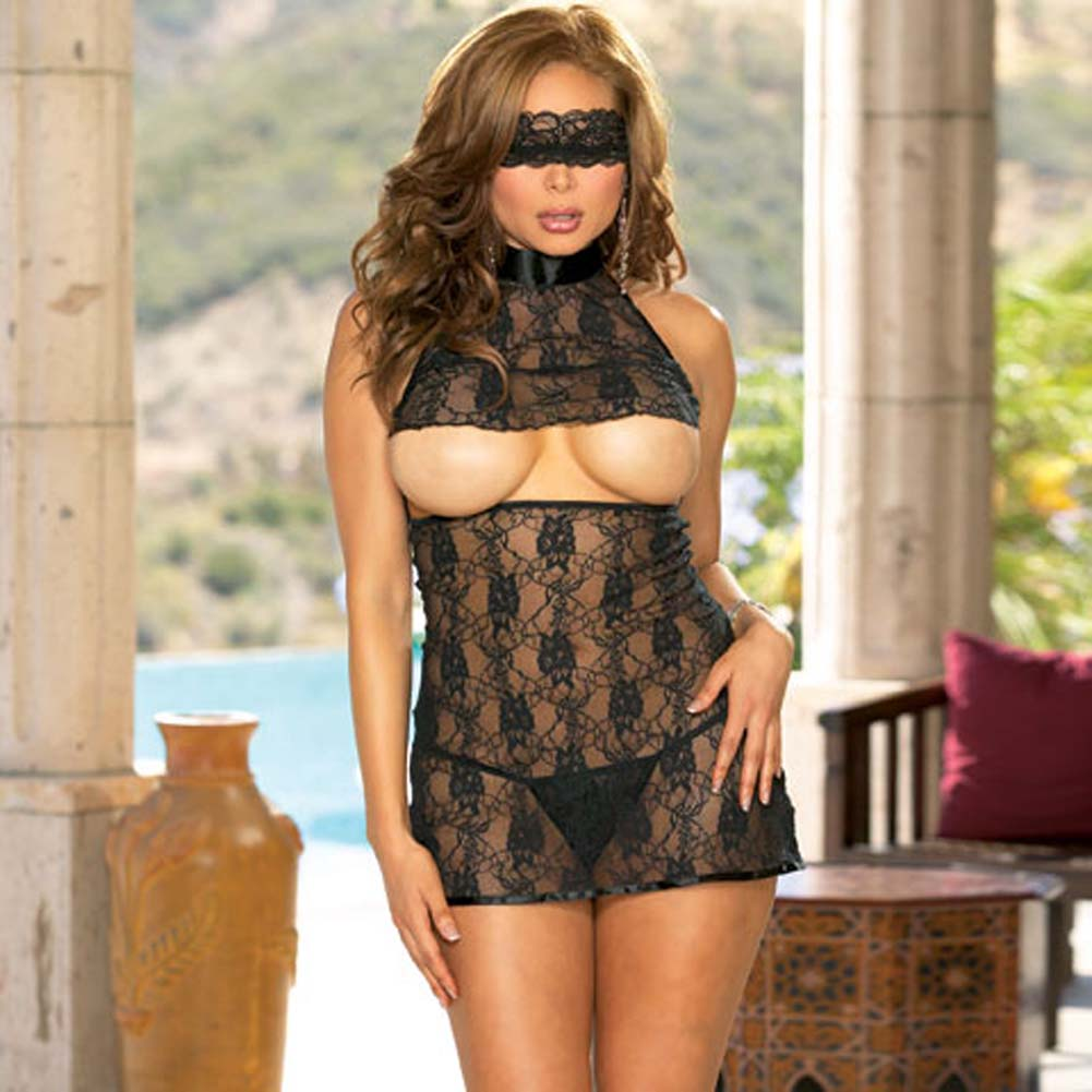 Lavish Lace Open Cup Halter Babydoll with Thong Plus Size/ - View #1