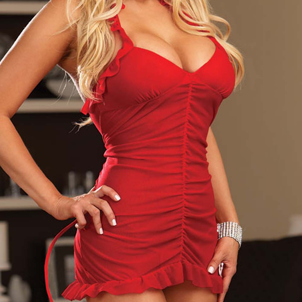 Sinners Paradise Chemise with Devil Tail and Horns Red - View #3