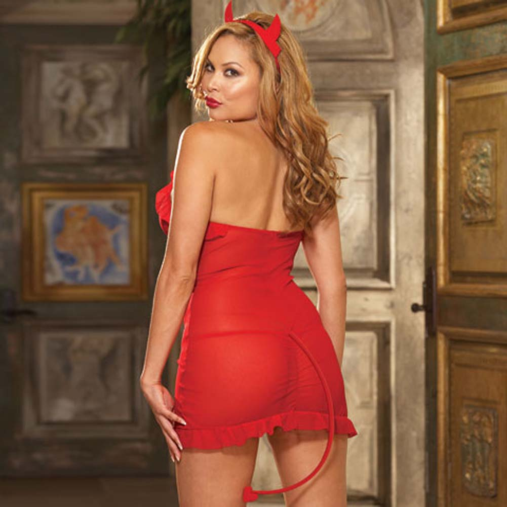 Sinners Paradise Chemise with Devil Tail and Horns Plus Size - View #2