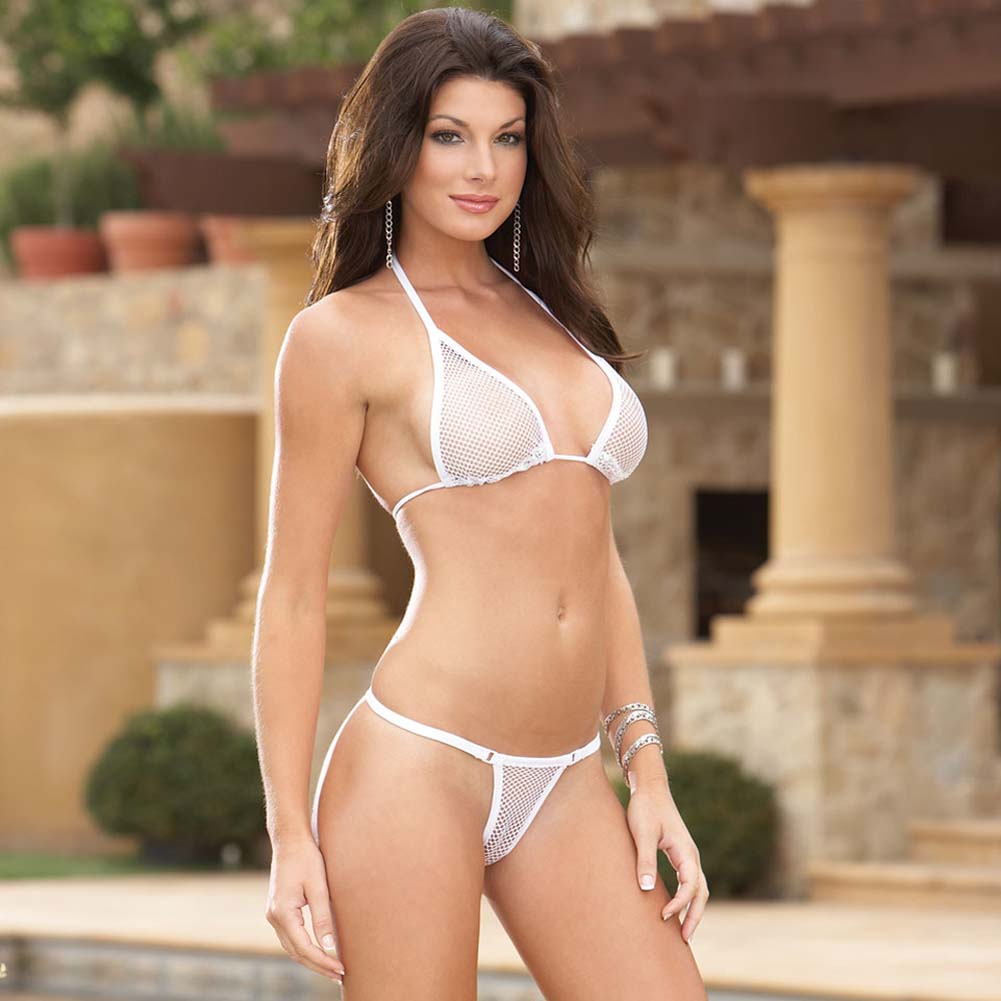 Risque Fishnet Bikini Top with G-String and Skirt White S/M - View #3