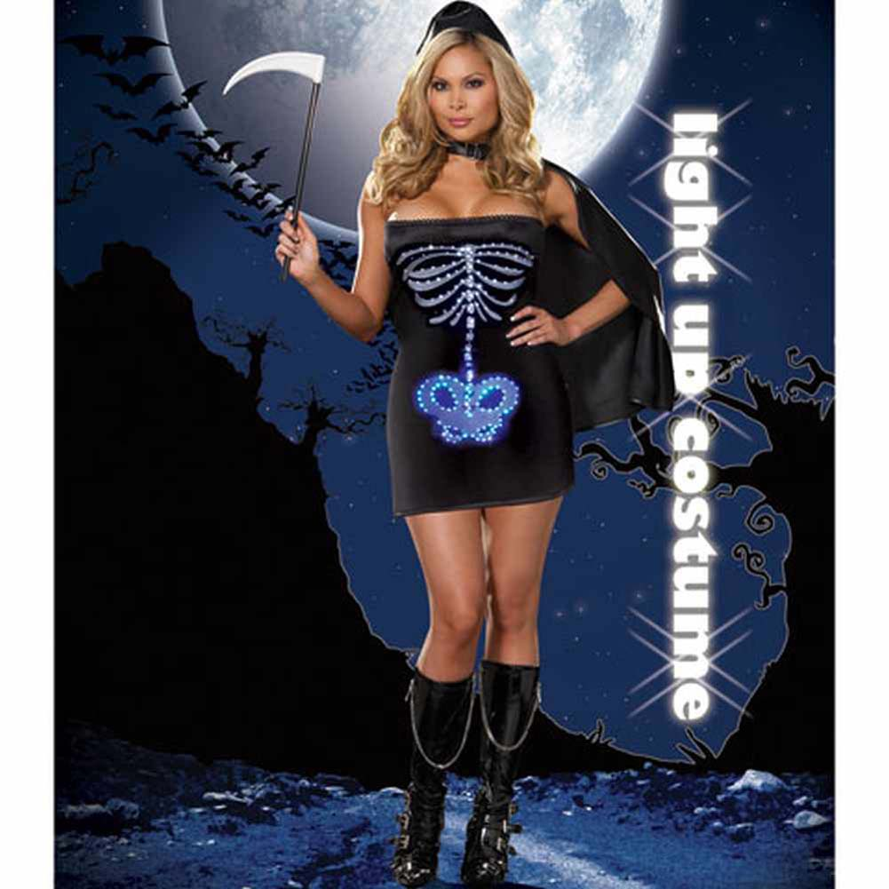 Dreamgirl Lingerie LIGHT UP Maya Remains Halloween Costume 1X/2X Plus Black - View #2