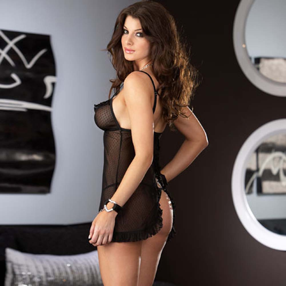 Classy Patterned Chemise with Chain Heart Cuffs and Panty - View #2