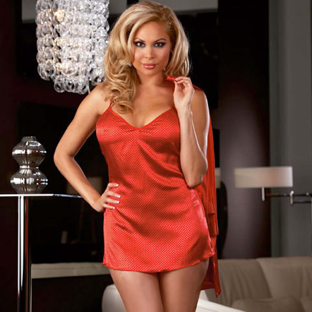 Polished Polka Dot Babydoll and Robe Set Red Size Plus 3X/4X - View #4