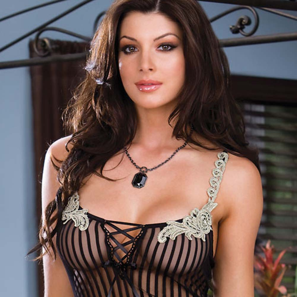 Pinstriped and Pretty Chemise with String Thong Medium - View #2
