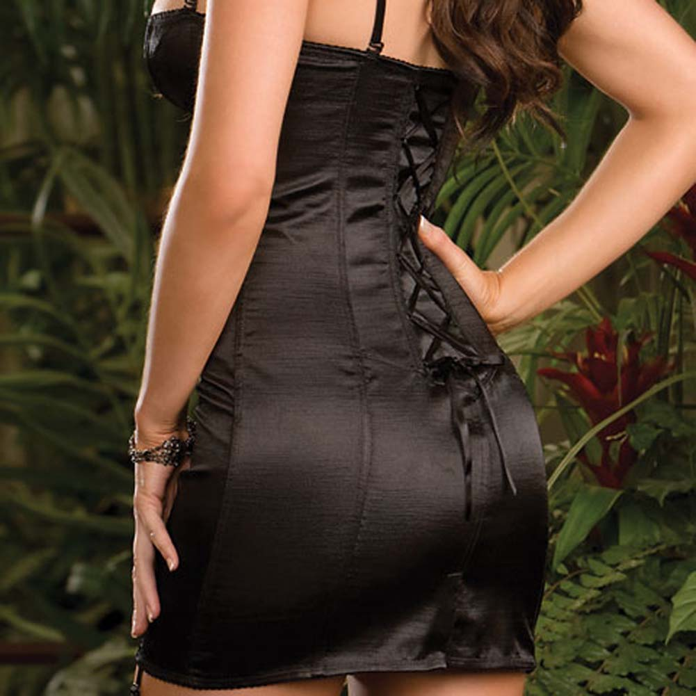 Satin Corset Dress with Boning to Waist Black Size 32 - View #4