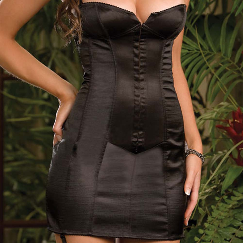 Satin Corset Dress with Boning to Waist Black Size 38 - View #3