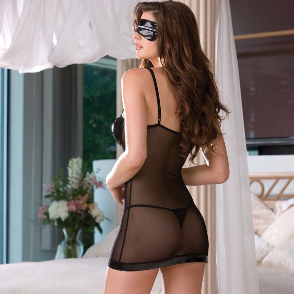 Time to Get Naughty Nightwear with Panty and Mask - View #2