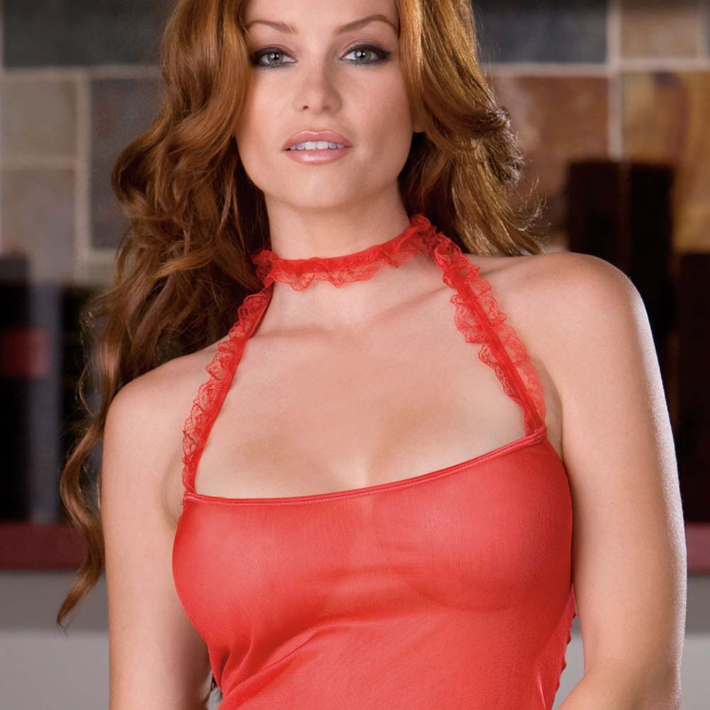 Ruffled Red Camisole with Slit Thong and Cuffs - View #2