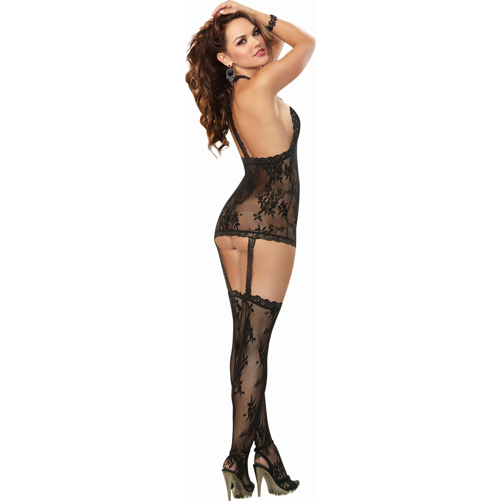 Floral Lace Halter Dress with Attached Garters and Stockings One Size Black - View #2