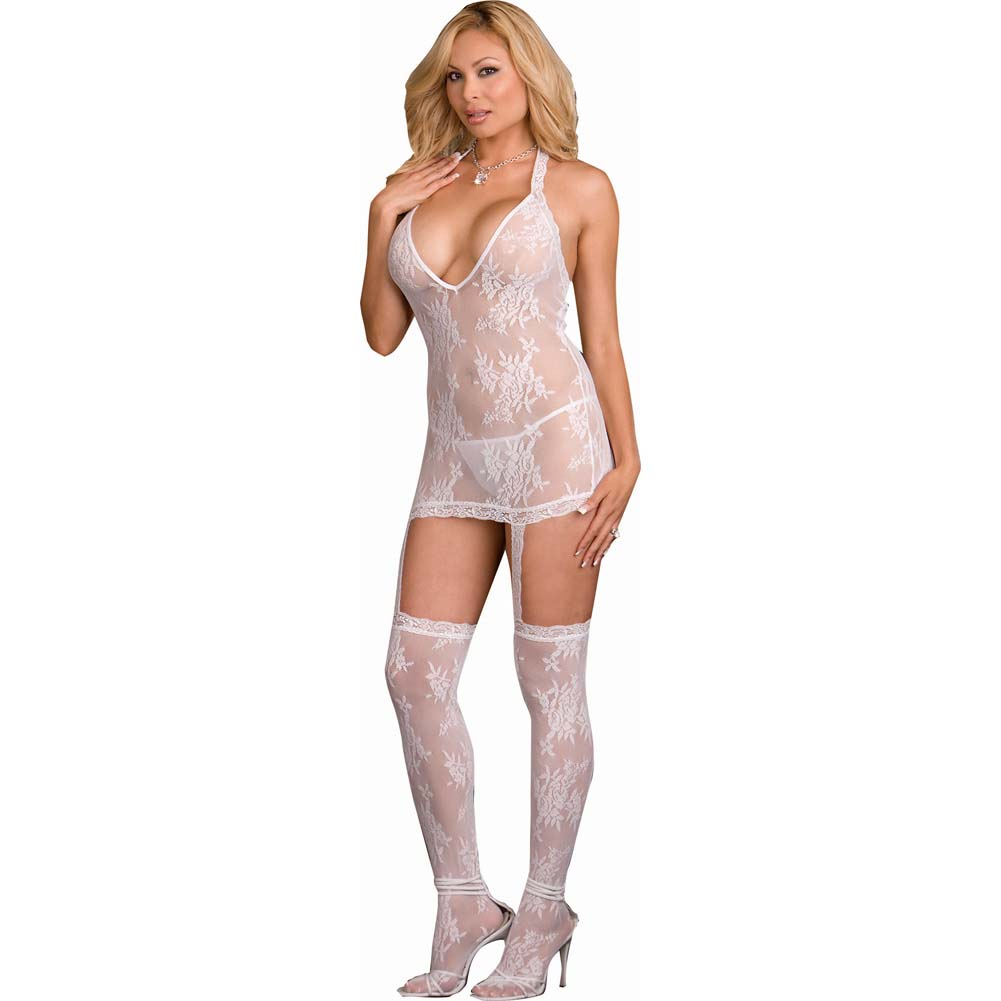 Floral Lace Halter Dress with Attached Garters and Stockings Plus Size White - View #1