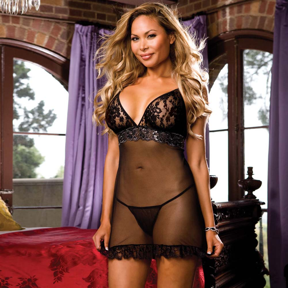 Madame Noir Babydoll with Panty Black Plus Size - View #1